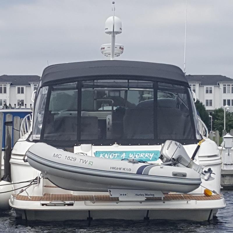 The Hurley Marine H3O dinghy davit cruiser in use