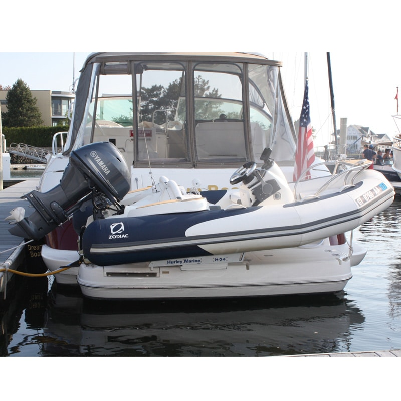 The Hurley Marine H3O+ dinghy davit system in use