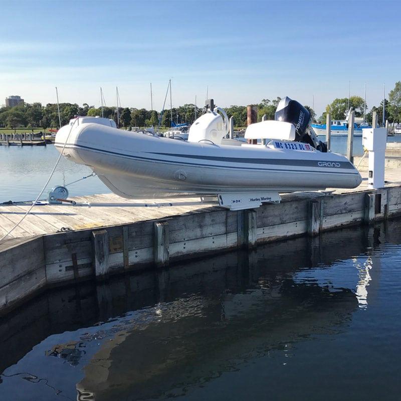The Hurley Marine H3O dinghy davit system on Dock