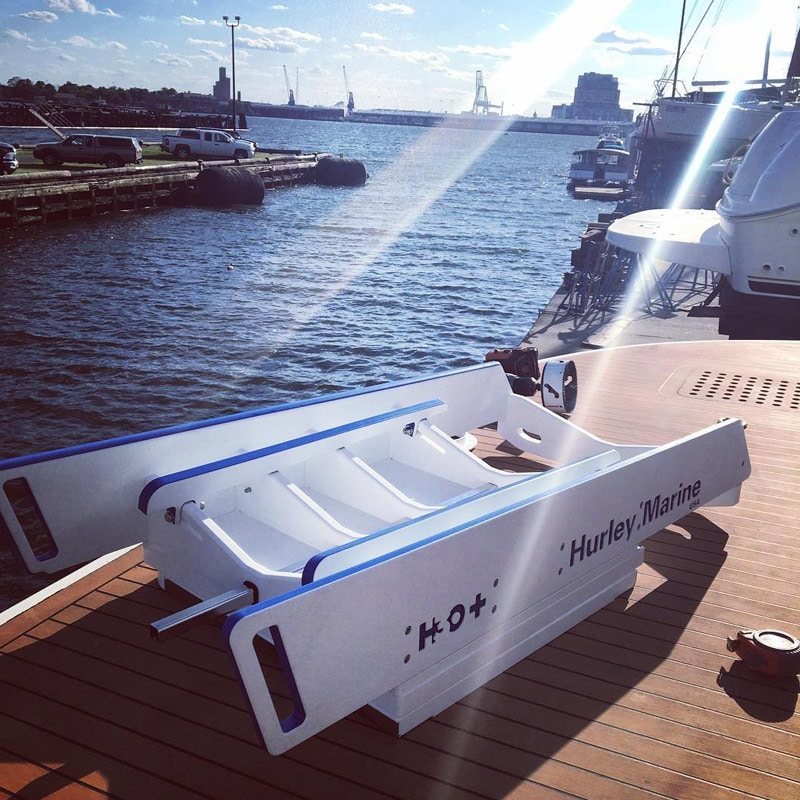 The Hurley Marine H3O Dinghy Davit system on harbor